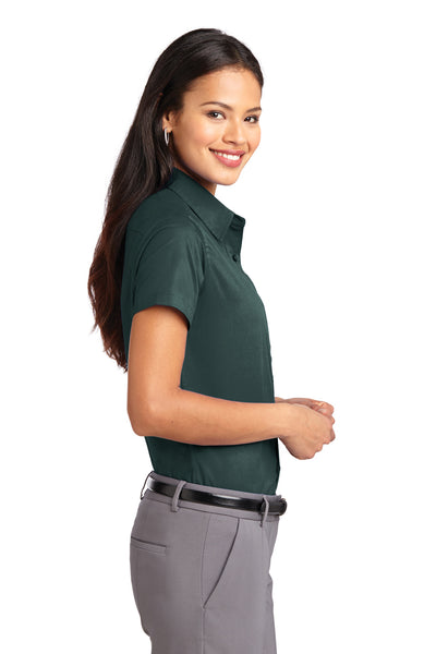 Port Authority L508 Womens Easy Care Wrinkle Resistant Short Sleeve Button Down Shirt Dark Green Side