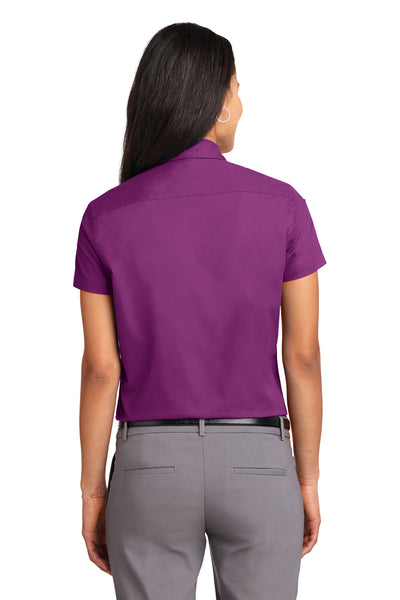 Port Authority L508 Womens Easy Care Wrinkle Resistant Short Sleeve Button Down Shirt Berry Purple Back