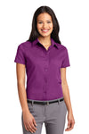 Port Authority L508 Womens Easy Care Wrinkle Resistant Short Sleeve Button Down Shirt Berry Purple Front