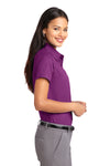 Port Authority L508 Womens Easy Care Wrinkle Resistant Short Sleeve Button Down Shirt Berry Purple Side