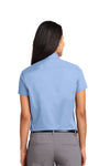 Port Authority L508 Womens Easy Care Wrinkle Resistant Short Sleeve Button Down Shirt Light Blue Back