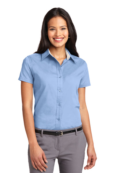 Port Authority L508 Womens Easy Care Wrinkle Resistant Short Sleeve Button Down Shirt Light Blue Front