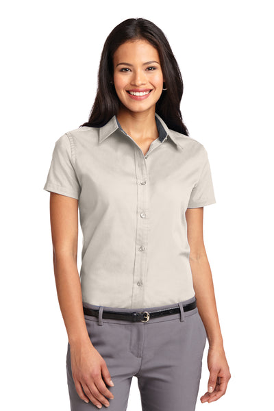 Port Authority L508 Womens Easy Care Wrinkle Resistant Short Sleeve Button Down Shirt Light Stone Brown Front