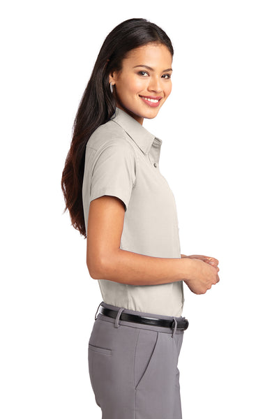 Port Authority L508 Womens Easy Care Wrinkle Resistant Short Sleeve Button Down Shirt Light Stone Brown Side