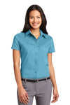Port Authority L508 Womens Easy Care Wrinkle Resistant Short Sleeve Button Down Shirt Maui Blue Front