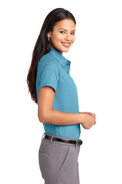 Port Authority L508 Womens Easy Care Wrinkle Resistant Short Sleeve Button Down Shirt Maui Blue Side