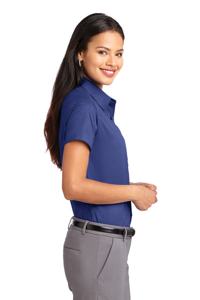 Port Authority L508 Womens Easy Care Wrinkle Resistant Short Sleeve Button Down Shirt Mediterranean Blue Side