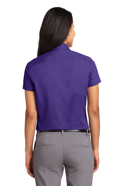 Port Authority L508 Womens Easy Care Wrinkle Resistant Short Sleeve Button Down Shirt Purple Back