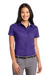 Port Authority L508 Womens Easy Care Wrinkle Resistant Short Sleeve Button Down Shirt Purple Front