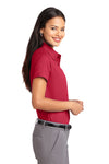 Port Authority L508 Womens Easy Care Wrinkle Resistant Short Sleeve Button Down Shirt Red Side