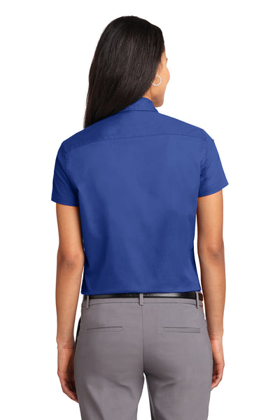 Port Authority L508 Womens Easy Care Wrinkle Resistant Short Sleeve Button Down Shirt Royal Blue Back