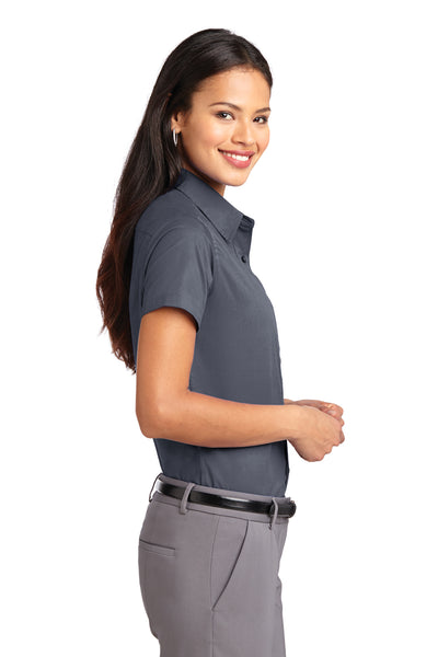 Port Authority L508 Womens Easy Care Wrinkle Resistant Short Sleeve Button Down Shirt Steel Grey Side