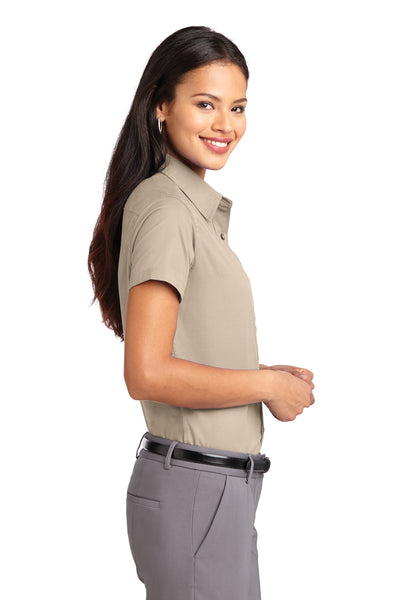 Port Authority L508 Womens Easy Care Wrinkle Resistant Short Sleeve Button Down Shirt Stone Brown Side
