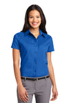 Port Authority L508 Womens Easy Care Wrinkle Resistant Short Sleeve Button Down Shirt Strong Blue Front