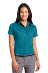 Port Authority L508 Womens Easy Care Wrinkle Resistant Short Sleeve Button Down Shirt Teal Green Front