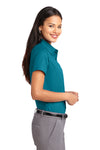 Port Authority L508 Womens Easy Care Wrinkle Resistant Short Sleeve Button Down Shirt Teal Green Side