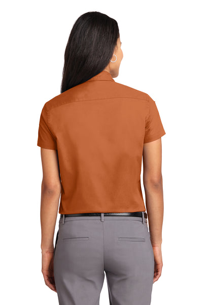 Port Authority L508 Womens Easy Care Wrinkle Resistant Short Sleeve Button Down Shirt Texas Orange Back