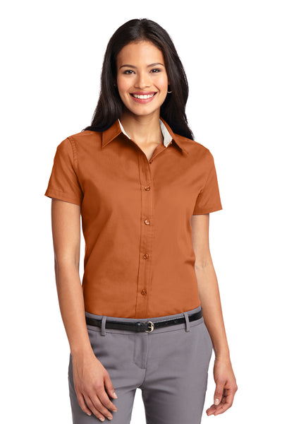 Port Authority L508 Womens Easy Care Wrinkle Resistant Short Sleeve Button Down Shirt Texas Orange Front