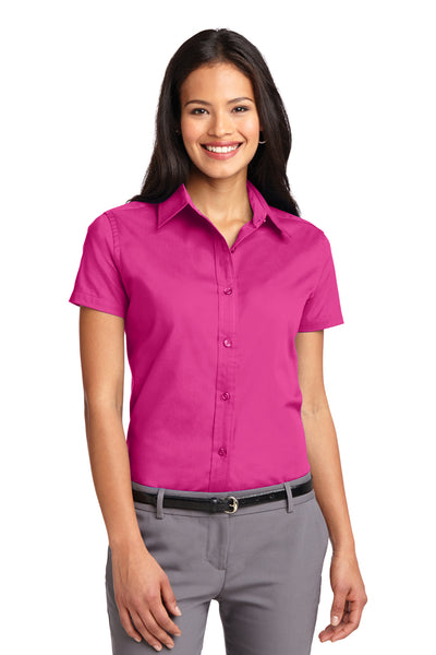 Port Authority L508 Womens Easy Care Wrinkle Resistant Short Sleeve Button Down Shirt Tropical Pink Front