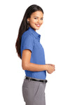 Port Authority L508 Womens Easy Care Wrinkle Resistant Short Sleeve Button Down Shirt Ultramarine Blue Side