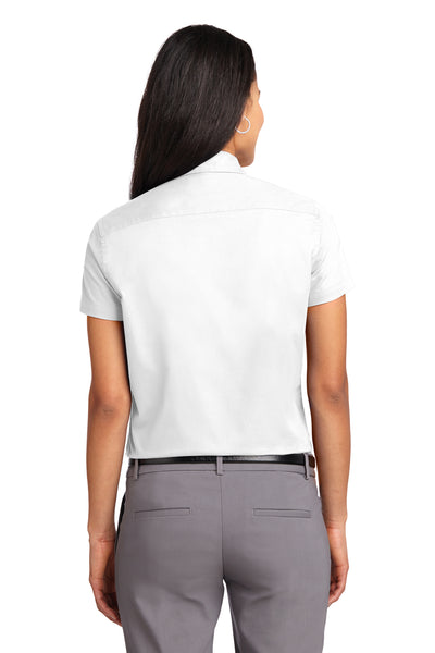 Port Authority L508 Womens Easy Care Wrinkle Resistant Short Sleeve Button Down Shirt White Back