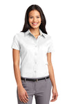 Port Authority L508 Womens Easy Care Wrinkle Resistant Short Sleeve Button Down Shirt White Front