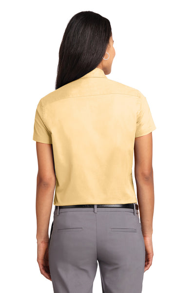 Port Authority L508 Womens Easy Care Wrinkle Resistant Short Sleeve Button Down Shirt Yellow Back