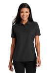 Port Authority L510 Womens Moisture Wicking Short Sleeve Polo Shirt Black Front