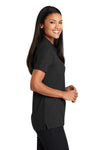 Port Authority L510 Womens Moisture Wicking Short Sleeve Polo Shirt Black Side