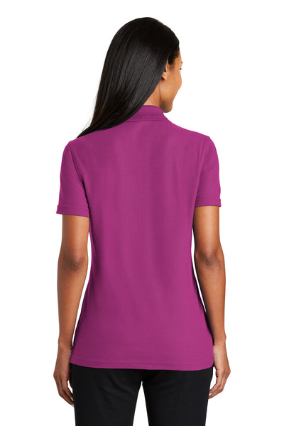 Port Authority L510 Womens Moisture Wicking Short Sleeve Polo Shirt Boysenberry Pink Back