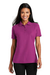 Port Authority L510 Womens Moisture Wicking Short Sleeve Polo Shirt Boysenberry Pink Front