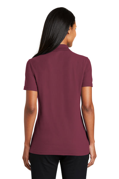Port Authority L510 Womens Moisture Wicking Short Sleeve Polo Shirt Burgundy Back