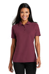Port Authority L510 Womens Moisture Wicking Short Sleeve Polo Shirt Burgundy Front