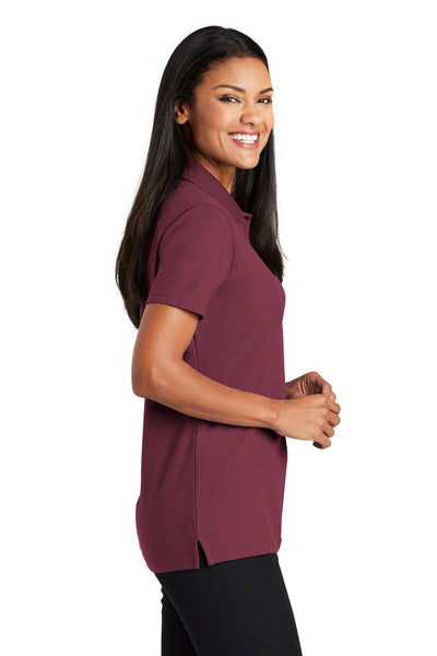 Port Authority L510 Womens Moisture Wicking Short Sleeve Polo Shirt Burgundy Side