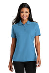 Port Authority L510 Womens Moisture Wicking Short Sleeve Polo Shirt Celadon Blue Front