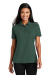 Port Authority L510 Womens Moisture Wicking Short Sleeve Polo Shirt Dark Green Front