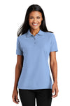 Port Authority L510 Womens Moisture Wicking Short Sleeve Polo Shirt Light Blue Front