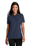 Port Authority L510 Womens Moisture Wicking Short Sleeve Polo Shirt Navy Blue Front