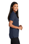 Port Authority L510 Womens Moisture Wicking Short Sleeve Polo Shirt Navy Blue Side