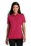 Port Authority L510 Womens Moisture Wicking Short Sleeve Polo Shirt Red Front