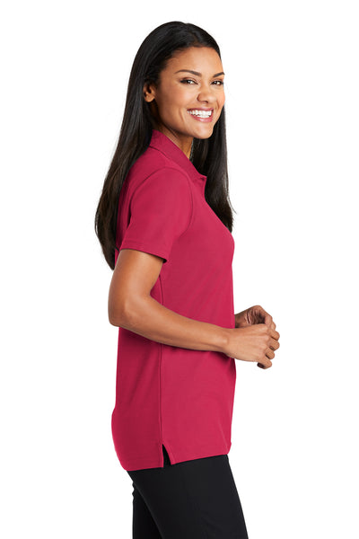 Port Authority L510 Womens Moisture Wicking Short Sleeve Polo Shirt Red Side