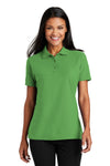 Port Authority L510 Womens Moisture Wicking Short Sleeve Polo Shirt Vine Green Front