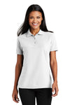 Port Authority L510 Womens Moisture Wicking Short Sleeve Polo Shirt White Front
