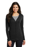 Port Authority L515 Womens Long Sleeve Cardigan Sweater Black Front