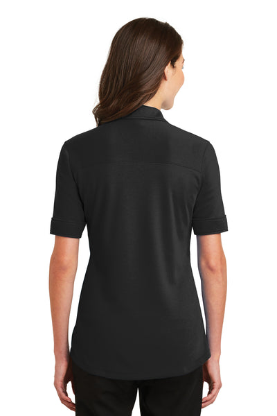 Port Authority L5200 Womens Silk Touch Performance Moisture Wicking Short Sleeve Polo Shirt Black Back