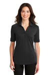Port Authority L5200 Womens Silk Touch Performance Moisture Wicking Short Sleeve Polo Shirt Black Front