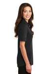 Port Authority L5200 Womens Silk Touch Performance Moisture Wicking Short Sleeve Polo Shirt Black Side
