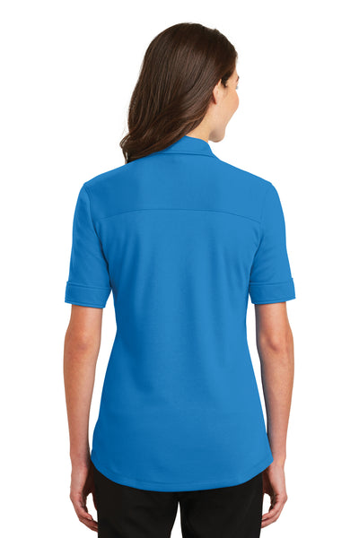 Port Authority L5200 Womens Silk Touch Performance Moisture Wicking Short Sleeve Polo Shirt Brilliant Blue Back