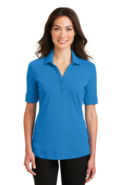 Port Authority L5200 Womens Silk Touch Performance Moisture Wicking Short Sleeve Polo Shirt Brilliant Blue Front