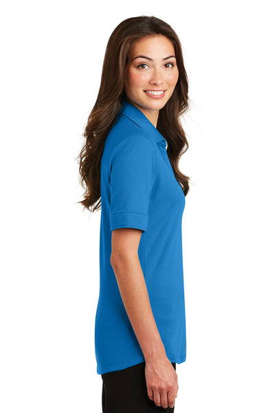 Port Authority L5200 Womens Silk Touch Performance Moisture Wicking Short Sleeve Polo Shirt Brilliant Blue Side